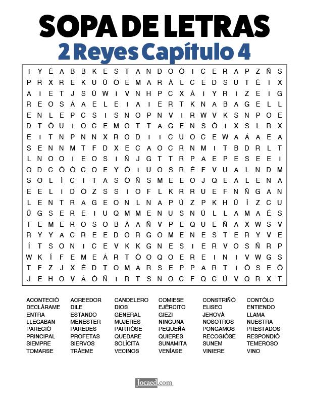 Sopa de Letras - 2 Reyes Cápitulo 4