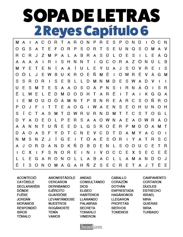Sopa de Letras - 2 Reyes Cápitulo 6