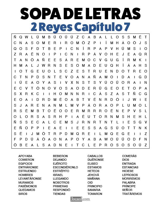 Sopa de Letras - 2 Reyes Cápitulo 7