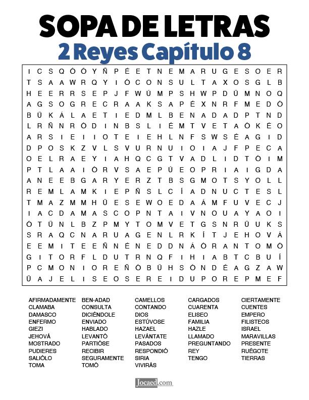 Sopa de Letras - 2 Reyes Cápitulo 8