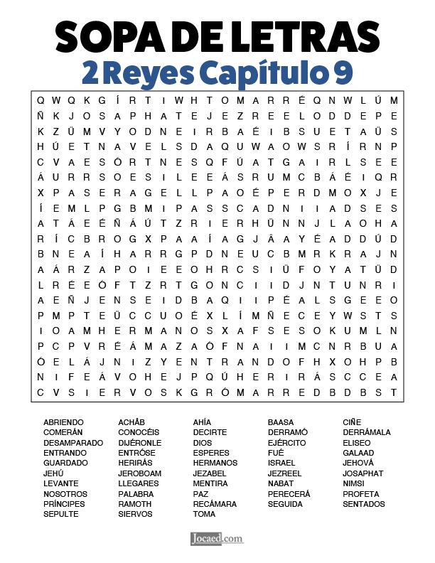 Sopa de Letras - 2 Reyes Cápitulo 9