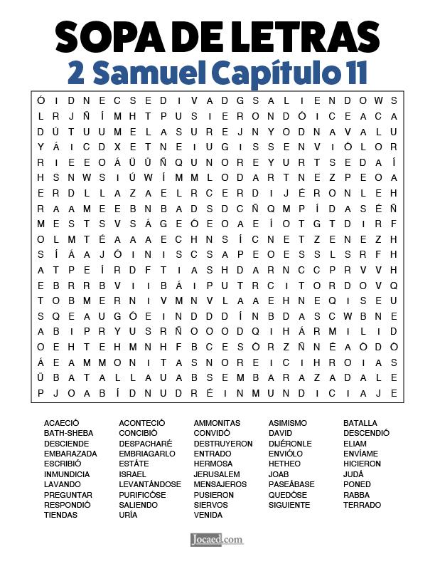 Sopa de Letras - 2 Samuel Cápitulo 11