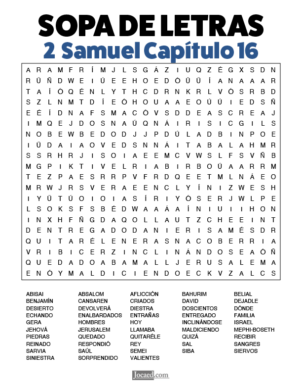 Sopa de Letras - 2 Samuel Cápitulo 16