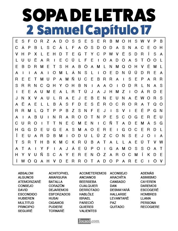 Sopa de Letras - 2 Samuel Cápitulo 17