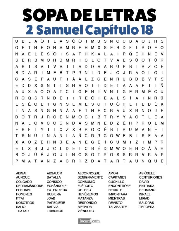 Sopa de Letras - 2 Samuel Cápitulo 18