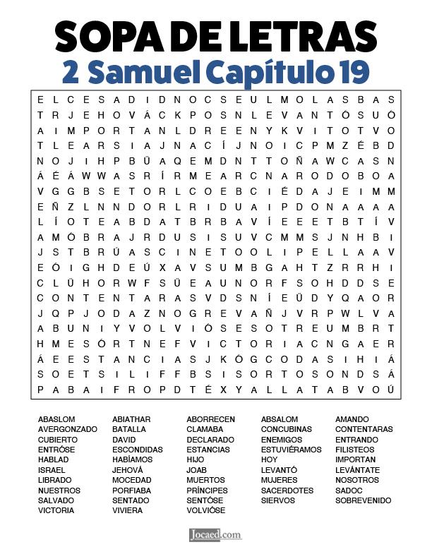 Sopa de Letras - 2 Samuel Cápitulo 19
