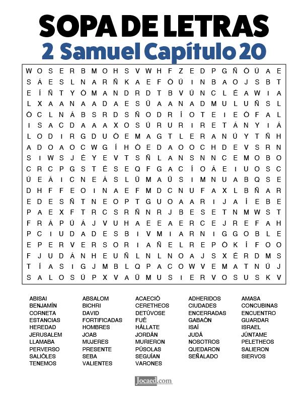 Sopa de Letras - 2 Samuel Cápitulo 20