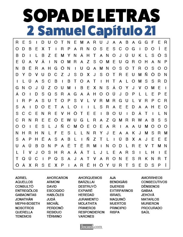Sopa de Letras - 2 Samuel Cápitulo 21