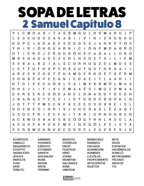 Sopa de Letras - 2 Samuel Cápitulo 8