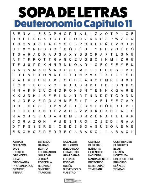 Sopa de Letras - Deuteronomio Cápitulo 11
