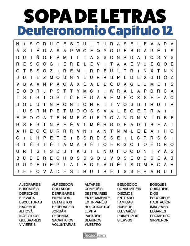 Sopa de Letras - Deuteronomio Cápitulo 12