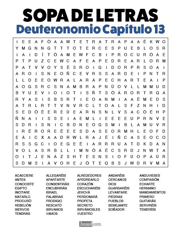 Sopa de Letras - Deuteronomio Cápitulo 13