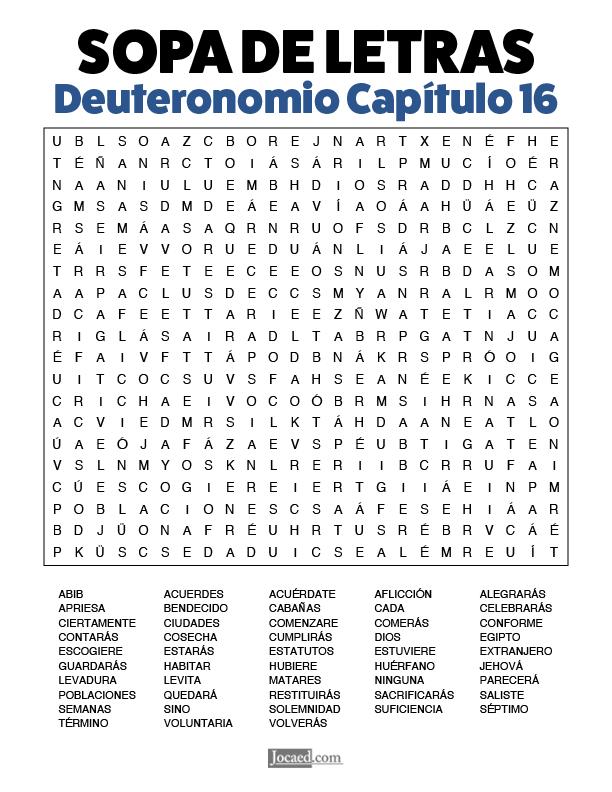 Sopa de Letras - Deuteronomio Cápitulo 16