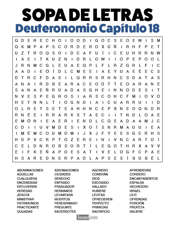 Sopa de Letras - Deuteronomio Cápitulo 18
