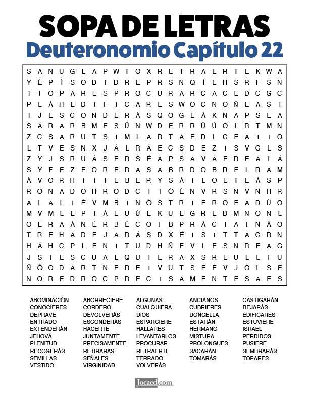 Sopa de Letras - Deuteronomio Cápitulo 22