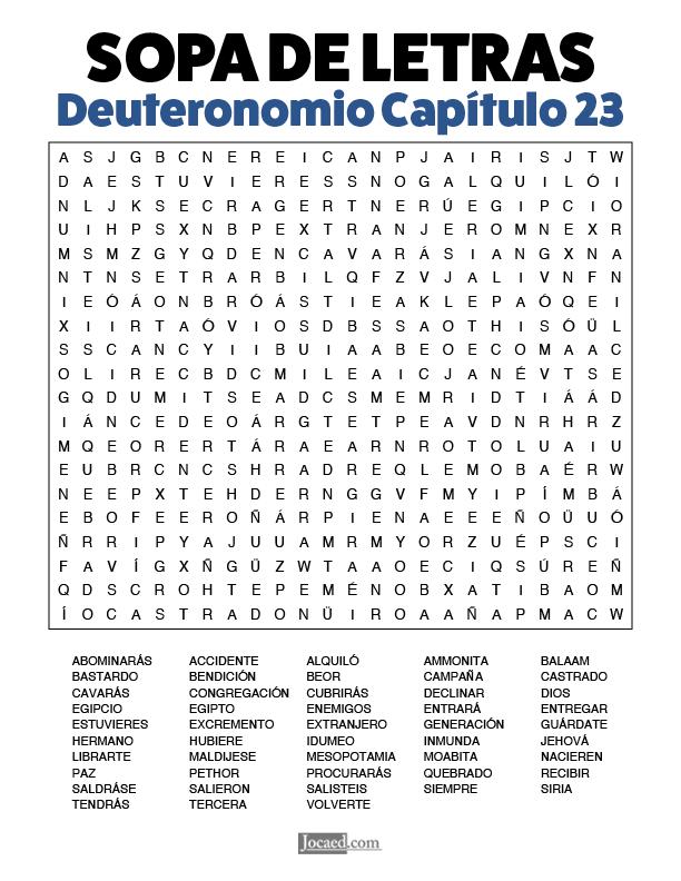 Sopa de Letras - Deuteronomio Cápitulo 23