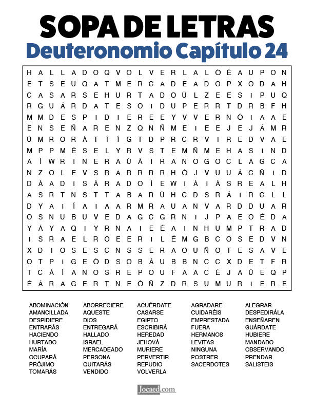 Sopa de Letras - Deuteronomio Cápitulo 24