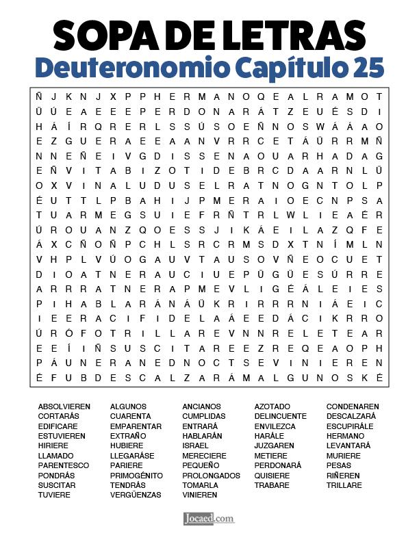 Sopa de Letras - Deuteronomio Cápitulo 25