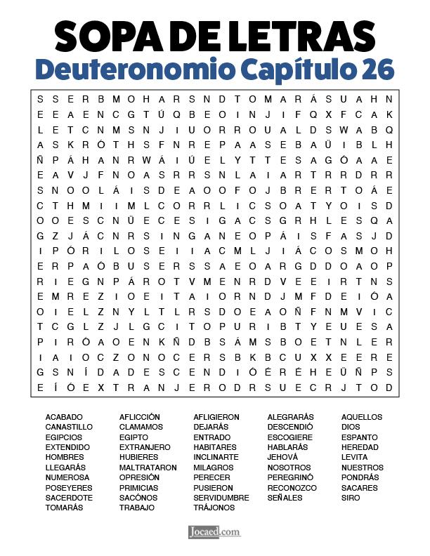 Sopa de Letras - Deuteronomio Cápitulo 26