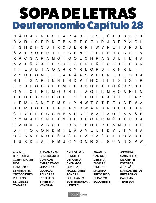 Sopa de Letras - Deuteronomio Cápitulo 28