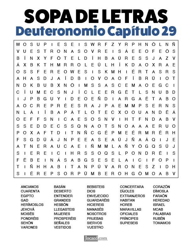 Sopa de Letras - Deuteronomio Cápitulo 29