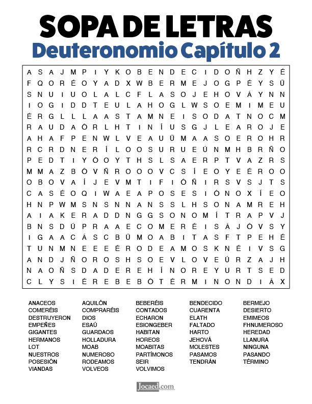 Sopa de Letras - Deuteronomio Cápitulo 2