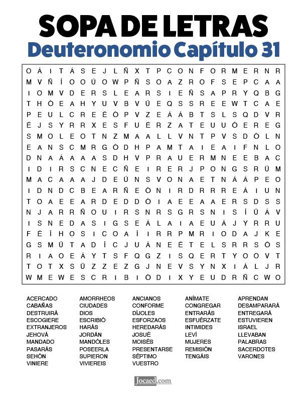 Sopa de Letras - Deuteronomio Cápitulo 31