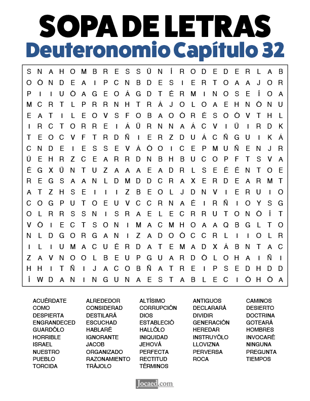 Sopa de Letras - Deuteronomio Cápitulo 32