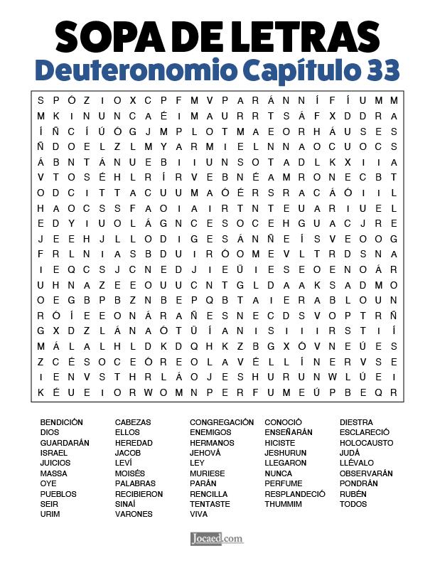 Sopa de Letras - Deuteronomio Cápitulo 33
