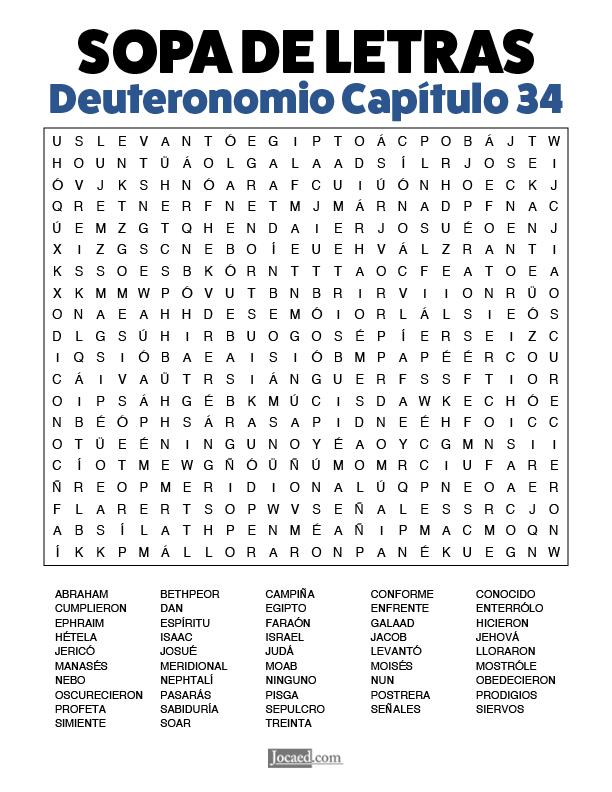 Sopa de Letras - Deuteronomio Cápitulo 34