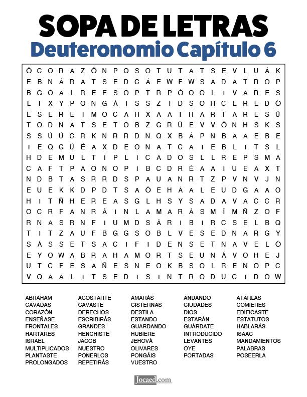 Sopa de Letras - Deuteronomio Cápitulo 6