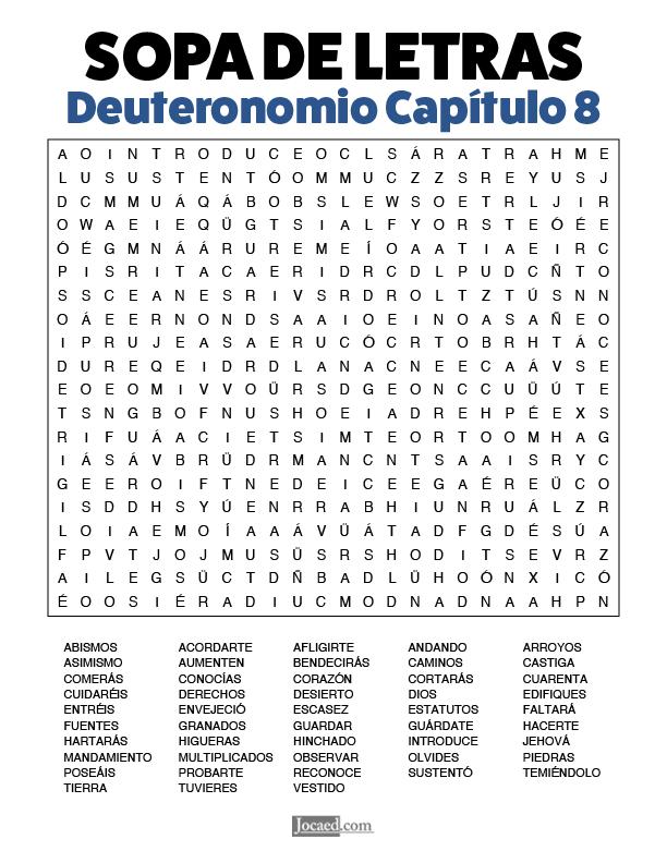 Sopa de Letras - Deuteronomio Cápitulo 8
