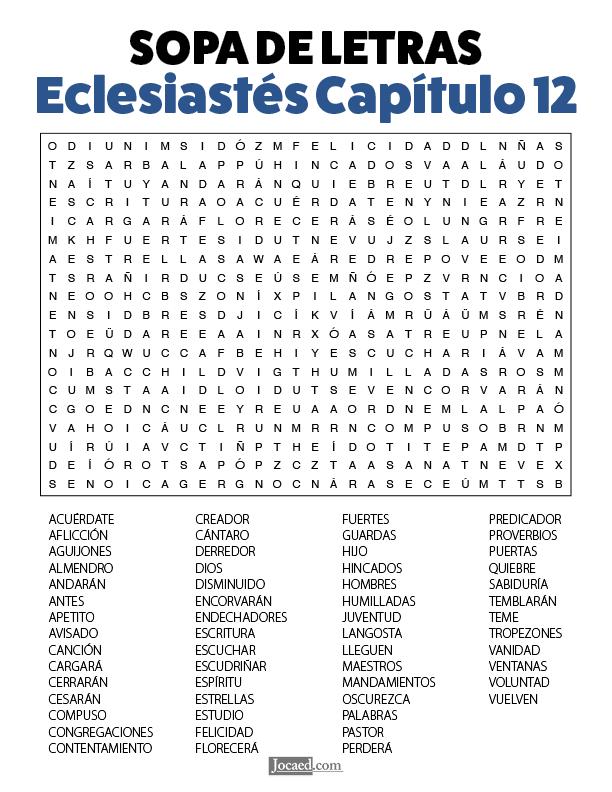 Sopa de Letras - Eclesiastés Cápitulo 12