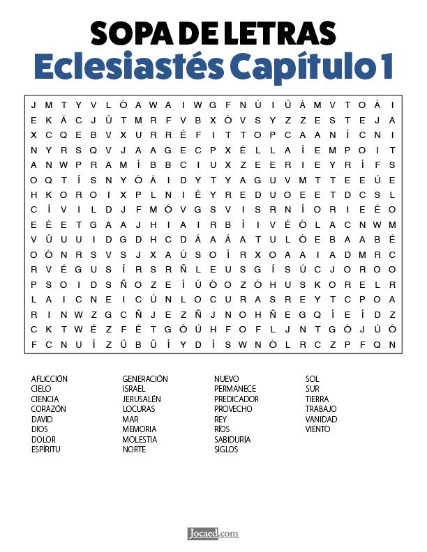 Sopa de Letras - Eclesiastés Cápitulo 1