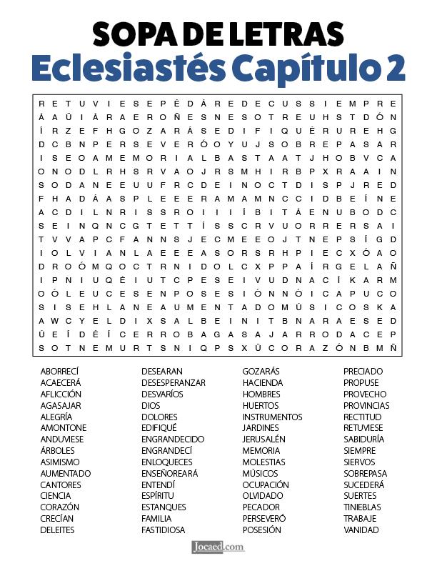 Sopa de Letras - Eclesiastés Cápitulo 2