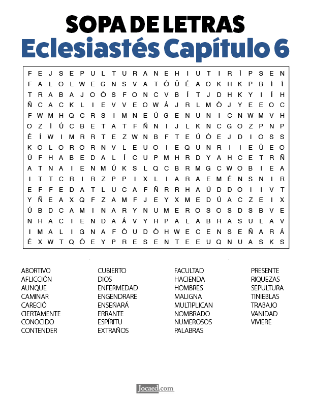 Sopa de Letras - Eclesiastés Cápitulo 6