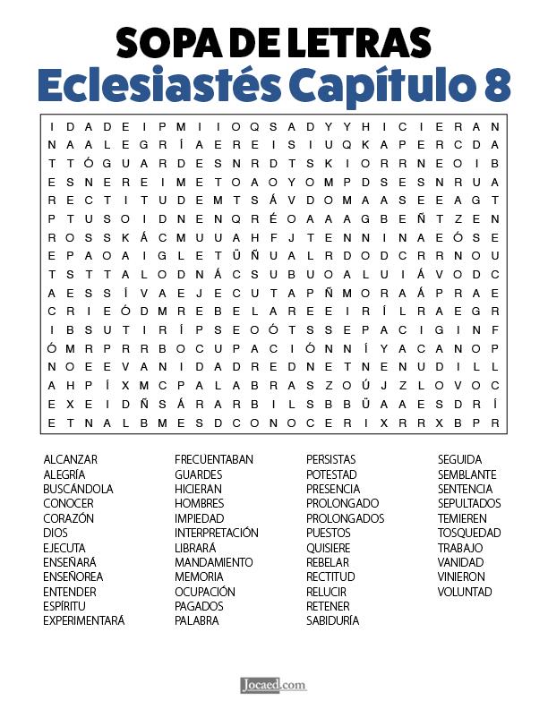 Sopa de Letras - Eclesiastés Cápitulo 8