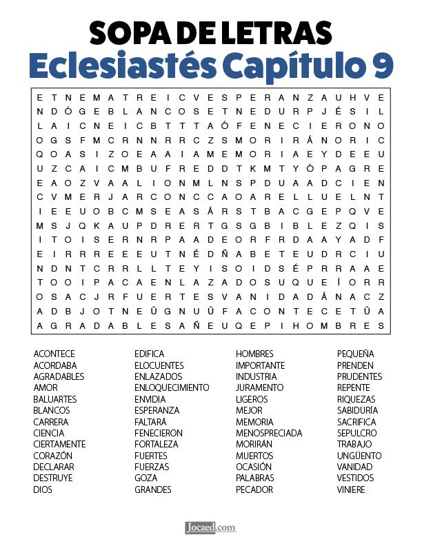 Sopa de Letras - Eclesiastés Cápitulo 9
