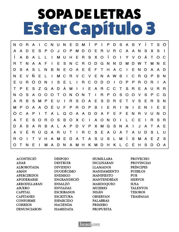 Sopa de Letras - Ester Cápitulo 3