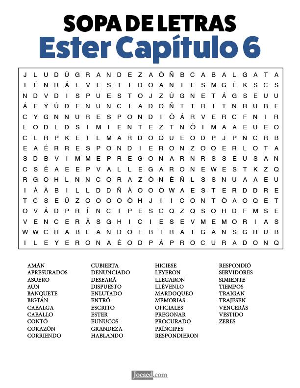 Sopa de Letras - Ester Cápitulo 6