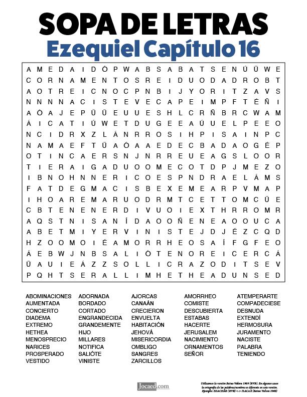 Sopa de Letras - Ezequiel Cápitulo 16