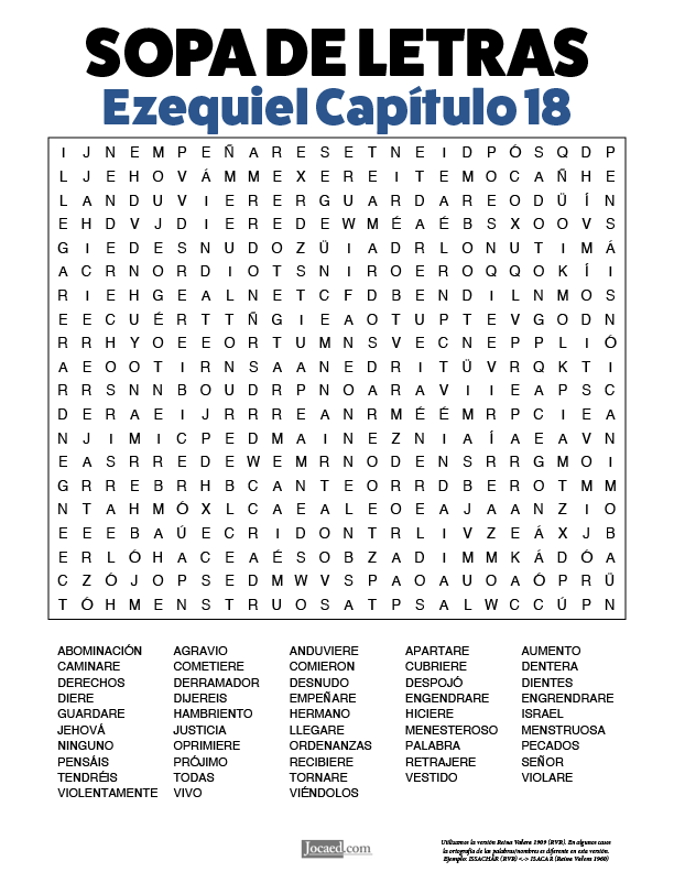 Sopa de Letras - Ezequiel Cápitulo 18