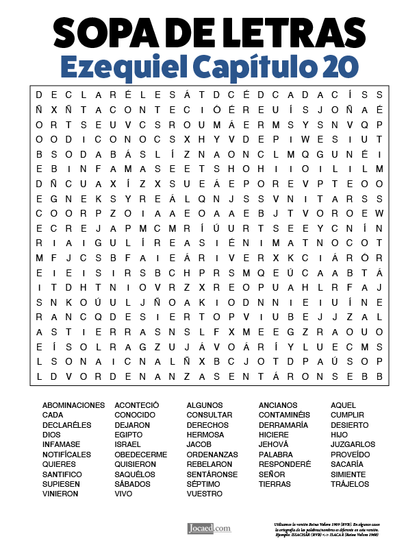 Sopa de Letras - Ezequiel Cápitulo 20