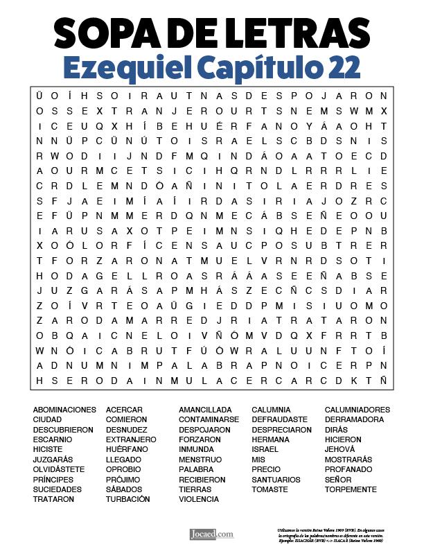 Sopa de Letras - Ezequiel Cápitulo 22