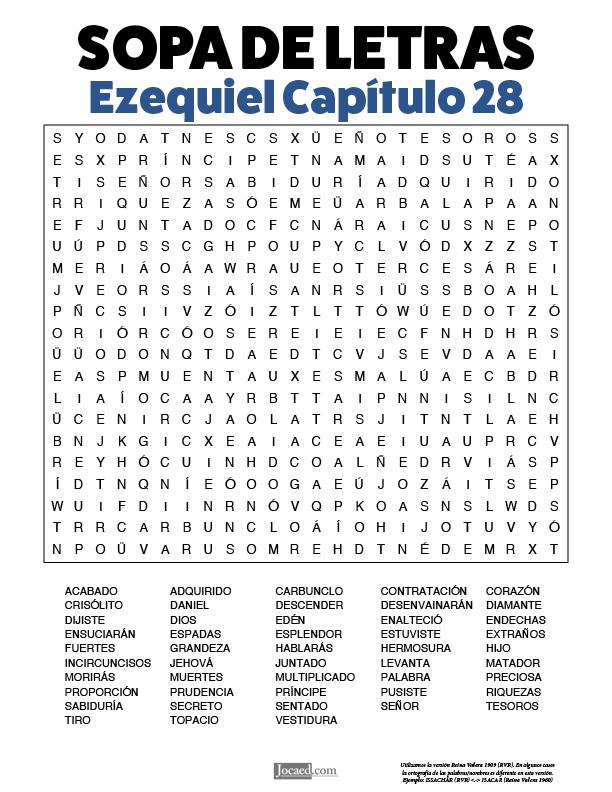 Sopa de Letras - Ezequiel Cápitulo 28