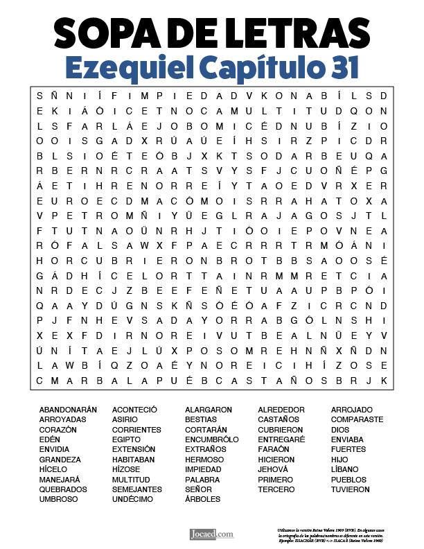 Sopa de Letras - Ezequiel Cápitulo 31