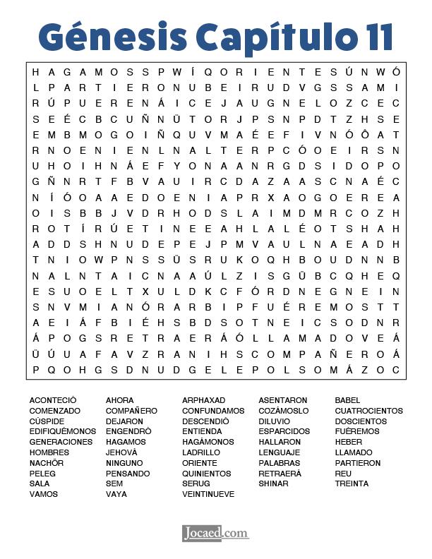 Sopa de Letras - Génesis Cápitulo 11