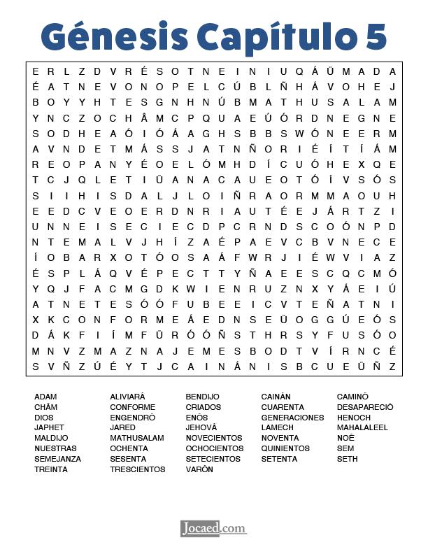 Sopa de Letras - Génesis Cápitulo 5