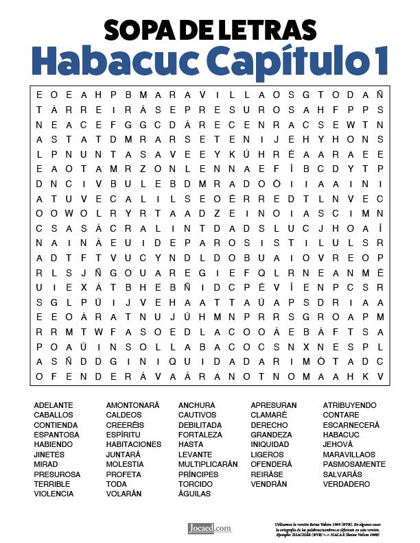 Sopa de Letras - Habacuc Cápitulo 1