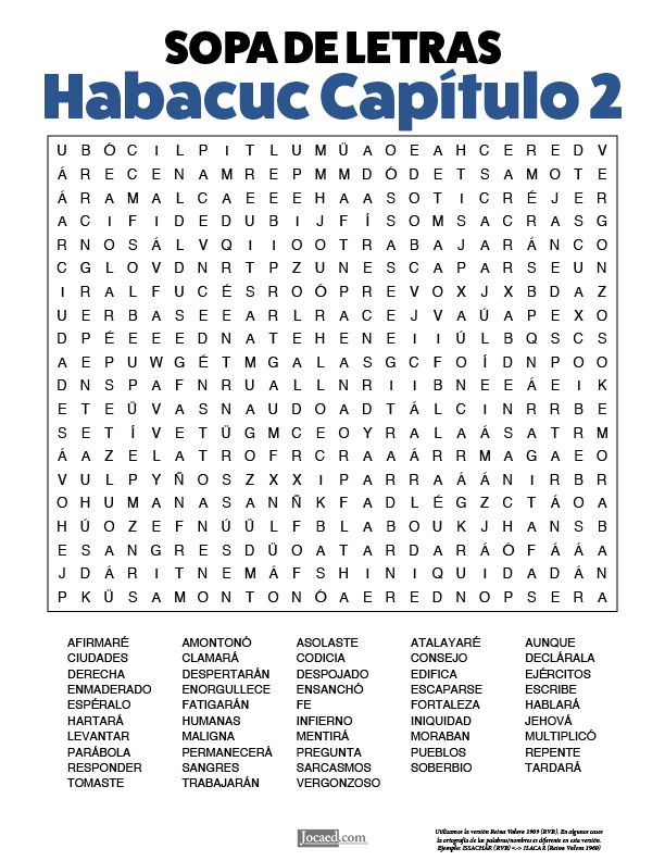 Sopa de Letras - Habacuc Cápitulo 2